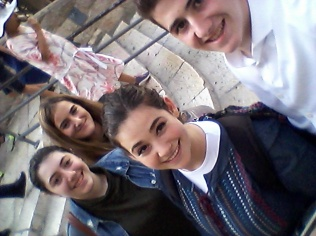 With Gavriel, our cousin Bini, and her cousin visiting the Old City
