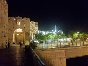Outside of the Old City at night